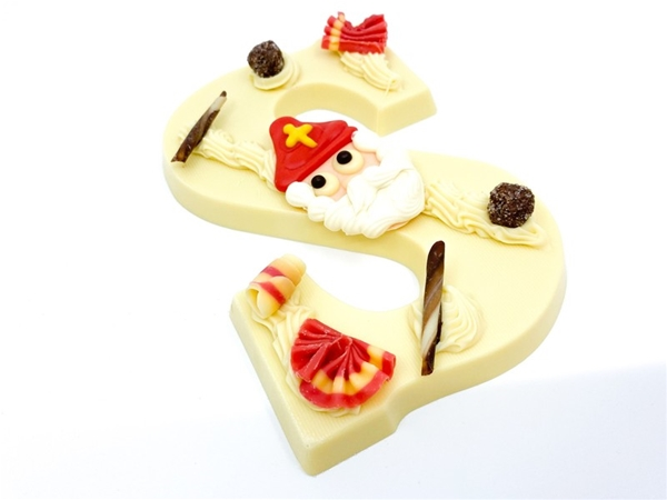 Gietchocoladeletter wit -s-